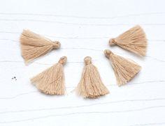 Mini Tassels, 5 Pieces Tiny Wheat Brown Tassels - Cotton Tassels - PS026 by…