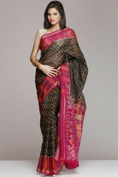 Pochampally Silk Cotton Sarees | Black And Pink Pochampally Silk Cotton Saree | IndiaInMyBag.com