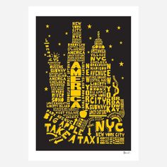 New York at Night Citography print