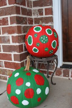 i gave our leftover pumpkins a christmas face lift simple christmas crafts christmas - Decorating Pumpkins For Christmas Ideas