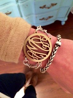 Two-tone acrylic filigree monogram bracelet from Initial Outfitters