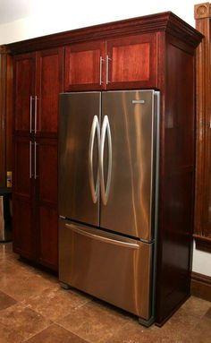 Kitchen , Kitchen Built In Refrigerator : Cherrywood Kitchen Cabinet Pantry With…