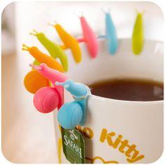 5 PCS Cute Snail Shape Silicone Tea Bag Holder Cup Mug Candy Colors Gift Set GOOD Random Color