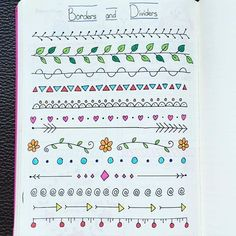 My first page of border and divider ideas - inspired by Pinterest and…                                                                                                                                                                                 Más