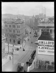 Lambton Quay, Wellington, [ca by National Library NZ on The Commons Great Pictures, Old Pictures, Wellington City, The Hutt, New Zealand Houses, Kiwiana, Back In The Day, Paris Skyline, Street View