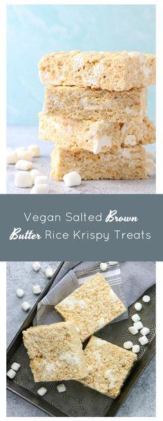 Vegan Salted Brown Butter Rice Krispy Treats - Eat. Drink. Shrink. Butter Rice, Brown Butter, Rice Krispie Treats, Rice Krispies, Good Healthy Recipes, Vegan Recipes, Vegan Blogs, Vegan Sweets, Sweet Treats