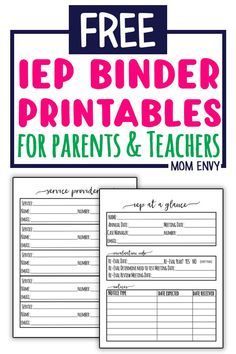 IEP Binder - Free Special Education Planner Inserts