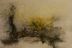 yellow Landscape Mixed Media on Canvas Schattenfugenrahmen 40 x 60 cm  verkäuflich