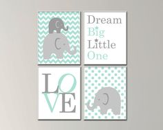 Elephant Nursery Art Prints. Baby Boy Nursery Art Prints. Suits Mint Nursery Decor. Dream Big Little One. Love Nursery Art. S-177 This listing is for 4 art prints only - frame not included. These prints are professionally printed on high quality heavyweight matte paper with archival inks. Please be aware that colour variations may occur due to the differences in computer monitors. IF YOU WOULD LIKE TO CUSTOMIZE YOUR PRINTS: When checking out, please leave a message in the Note to Seller s...