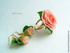 """Комплект """"I love you"""". Позолота. Цветы из полимерной глины. - бледно-розовый"""