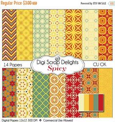 50% OFF TODAY Autumn Spicy Digital Papers: Fall Card Making, Crafts, Web Design, Invites, Cards, Crafts. Commercial Use, Instant Download  #fall #autumn #halloween #thanksgiving #scrapbooking #memories #craft #digiscrapdelights #clipart