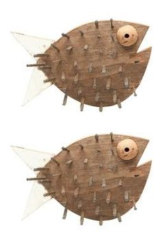 wood fish craft | HauteLook | Foreside: Wood Pile Puffer Fish - Set of 2