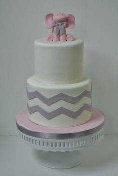 pink elephant baby shower cake - sweet cakes by rebecca