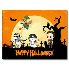 Cute Mummy Ghost Witch Priest - Happy Halloween Postcards