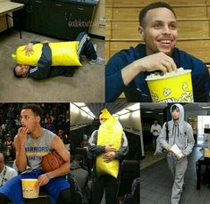 Golden State Warriors Stephen Steph Curry loves his popcorn. Stephen Curry Poster, Stephen Curry Photos, Stephen Curry Family, Funny Nba Memes, Funny Basketball Memes, Sports Memes, Basketball Quotes, Basketball Pictures, Funny Sports