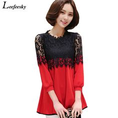 2016 elegant women blouses summer crochet lace top female clothing chiffon blouse femme long tunic tops for women blusa de renda