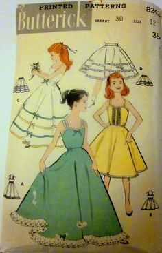 Vintage 1950s Butterick 8242 Girls Slip Petticoat by Denisecraft, $12.99