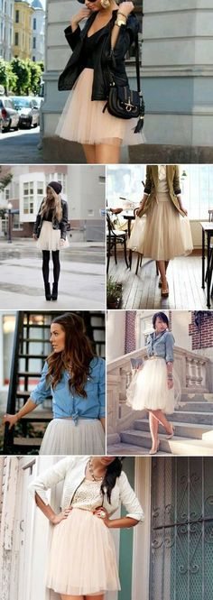 Tulle skirts and a casual top half/biker jacket with pointed court shoes = beautiful!