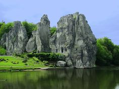 The Externsteine in Ostwestfalen-Lippe Germany, not far from the city of Detmold at Horn-Bad Meinberg