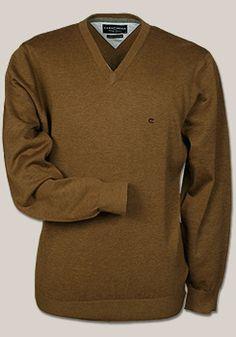 CASAMODA Pullover Langarm V-Ausschnitt Uni Baumwolle camel 004130/203