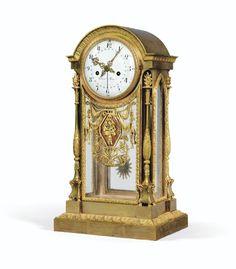 A GILTBRONZE MANTEL CLOCK, CHARLES X, THE DIAL SIGNED PIOLAINE A PARIS