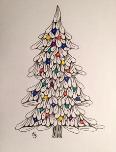 Zen tangled christmas tree tangle art, tangle doodle, doodles zentangles, z Tangle Doodle, Tangle Art, Doodles Zentangles, Zentangle Drawings, Doodle Drawings, Doodle Art, Christmas Doodles, Christmas Drawing, Christmas Paintings