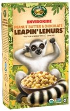 EnviroKidz Leaping Lemurs Organic Cereal. It's sugar content is lower, and the sweetness comes not from factory made high fructose corn syrup, but from mineral and calcium rich molasses. * Genetically engineered ingredients are banned in organics.