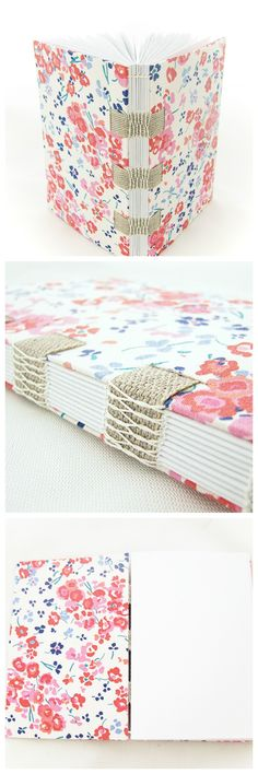 Fabric book with french link stitch over linen tapes.