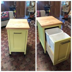 Chartreuse Moving Double Pull Out Trash Can Woodworking Furniture, Diy Furniture, Woodworking Plans, Woodworking Projects, Woodworking Organization, Woodworking Quotes, Furniture Assembly, Woodworking Classes, Kitchen Trash Cans