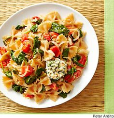Summer Vegetable Pasta with Crispy Goat Cheese Medallions