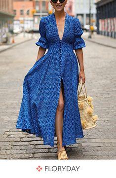 Women Sexy Deep V-Neck Maxi Dress - Herren- und Damenmode - Kleidung Sexy Dresses, Short Dresses, Fashion Dresses, Elegant Dresses, Beautiful Dresses, Dress Long, Blue Maxi Dresses, Ladies Maxi Dresses, Cotton Maxi Dresses