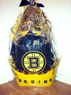 "SOLD Custom Built ""BRUINS"" Gift Basket $75 Theme Baskets, Raffle Baskets, Gift Baskets, Breast Cancer Fundraiser, Fundraising, My Etsy Shop, Crafty, Basket Ideas, Gifts"