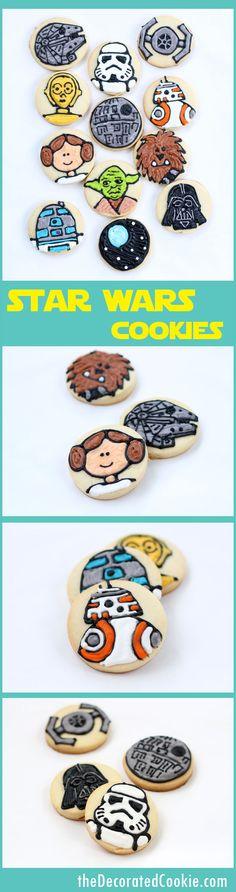 simple STAR WARS cookies on circles