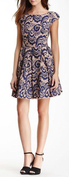 Pleated Lace Print A-Line Dress