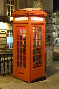 Orange phone booth