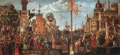 Vittorio Carpaccio ~ Het verloofde paar en Vertrek van de pelgrims ~ Uit de cyclus De legende van de heilige Ursula ~ 1495 ~ Tempera op doek ~ 280 x 611 cm. ~ Gallerie dell'Accademia, Venetië