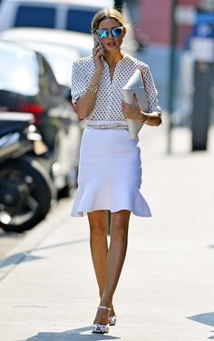 Olivia Palermo Fashion Style  A good skirt shape for curvy girls #newyearstylechallenge