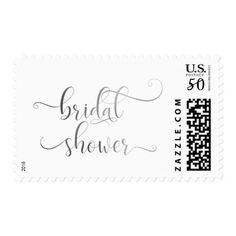 Faux silver Foil Bridal Shower in Elegant Script Postage