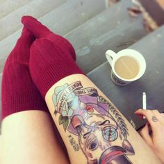 Girls can have such awesome thigh tats