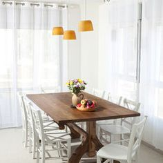 Dining Room Dark Table White Chairs Design, Pictures, Remodel, Decor and Ideas