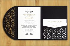 Art deco 1920s geometric laser cut wedding invitation