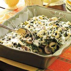 Tortellini Spinach Casserole - brick cheese, evaporated milk, tortellini, spinach, mushrooms, and mozzarella for the top