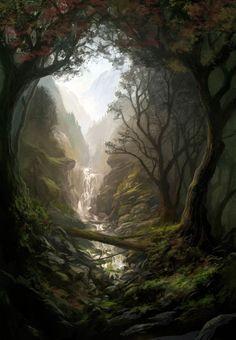 Land of enchantment - Lovely scene! by Andreas Rocha Fantasy Artwork, Fantasy Art Landscapes, Fantasy Landscape, Landscape Art, Fantasy Magic, Fantasy World, Fantasy Forest, Fantasy Places, Fantasy Setting