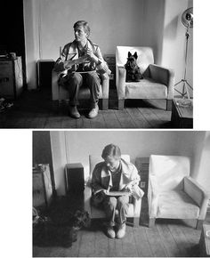 David Bowie et un Scottie par Duffy, 1979