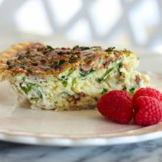 Spinach, kale, bacon, gruyere and cheddar cheese quiche with four crust options