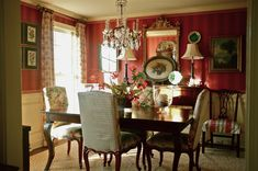 Red striped wallpaper, simple curtains, wainscoting, nice table and chairs.very nice look Home Room Design, Dining Room Design, House Design, Dining Rooms, Striped Wallpaper Dining Room, Red Interiors, Colorful Interiors, Red Rooms, Elegant Dining