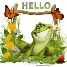 All animated gifs Animated Frog, Animated Cartoons, Animated Gif, Frog Pictures, Gif Pictures, Cute Pictures, Hello Pictures, Good Morning Good Night, Good Morning Wishes