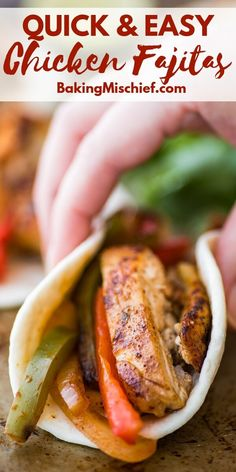 You can throw these fabulous Easy Chicken Fajitas together in about half an hour, no marinating or planning ahead needed. Easy Chicken Fajitas, Slow Cooked Chicken, Creamy Garlic Chicken, How To Cook Chicken, Delicious Dinner Recipes, Lunch Recipes, Mexican Food Recipes, Mexican Meals, Delicious Food