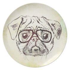 Hipster Pug Illustration Plate