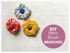 DIY FABRIC FLOWER BROOCHES